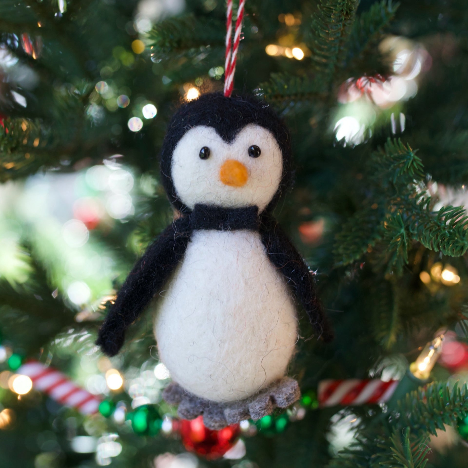Penguin with Bow Tie Ornament, Tufted Wool