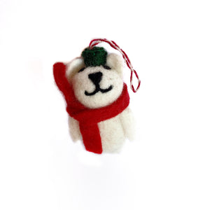 Fair Trade Polar Bear Christmas Ornament