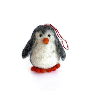 Tufted Wool Penguin Ornament Fair Trade Nepal