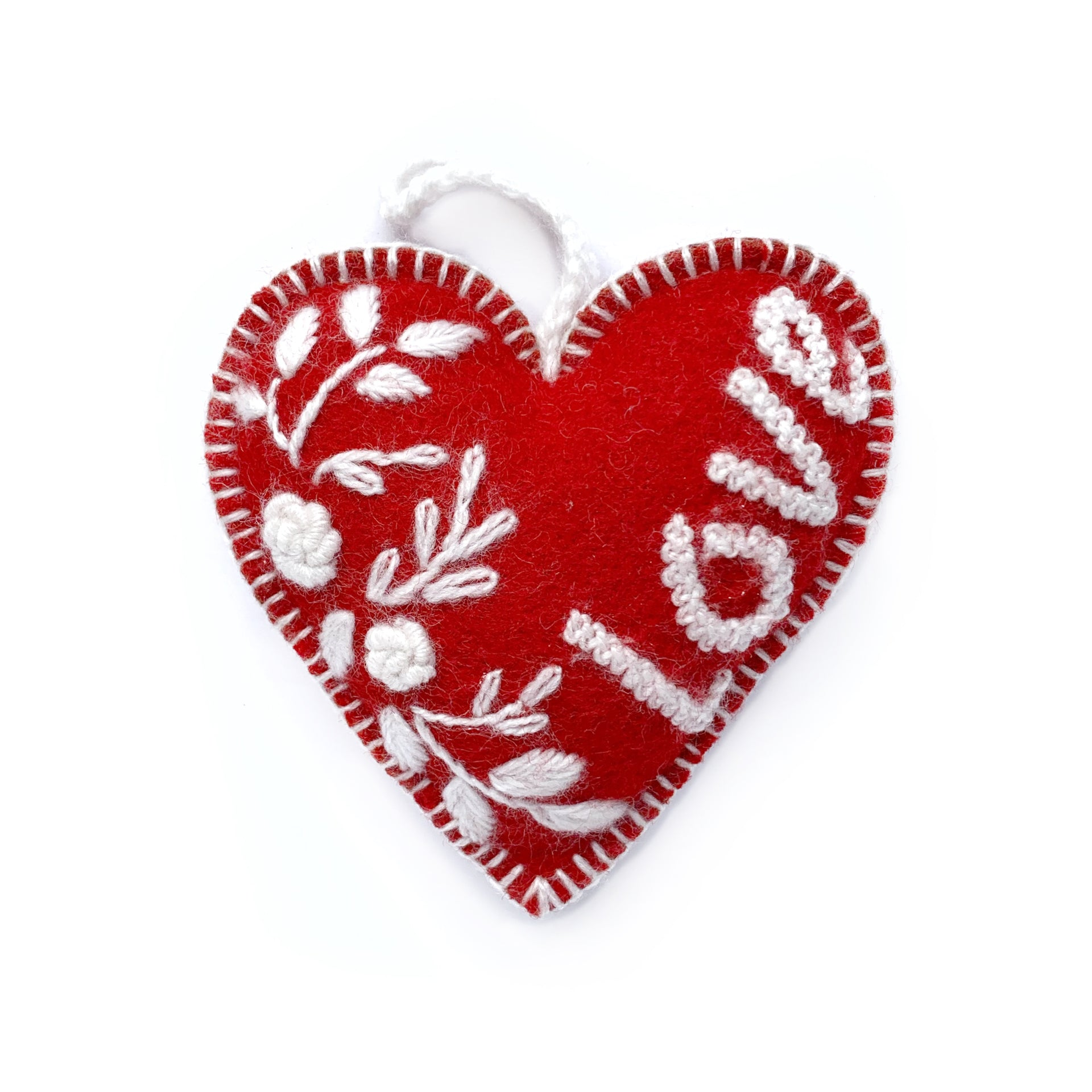 Valentine's Heart Ornament Trio, Embroidered Wool