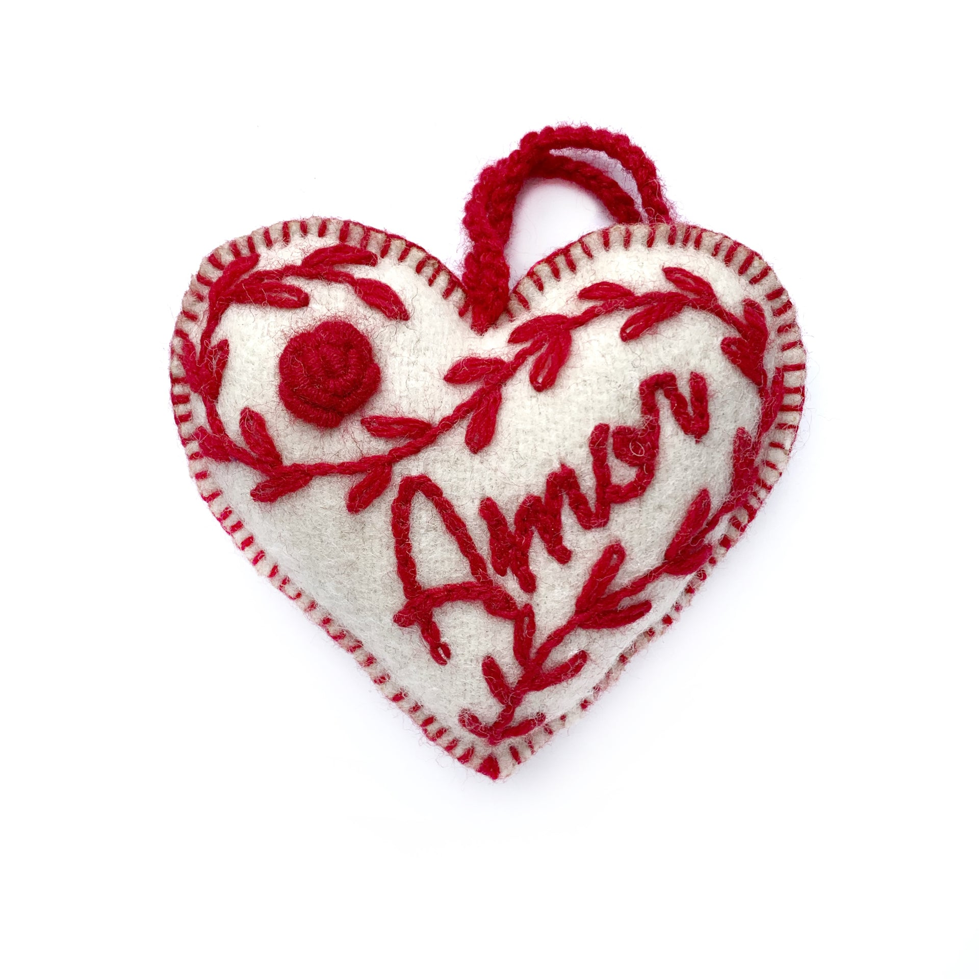 AMOR Heart Valentine's Ornament, Embroidered Wool