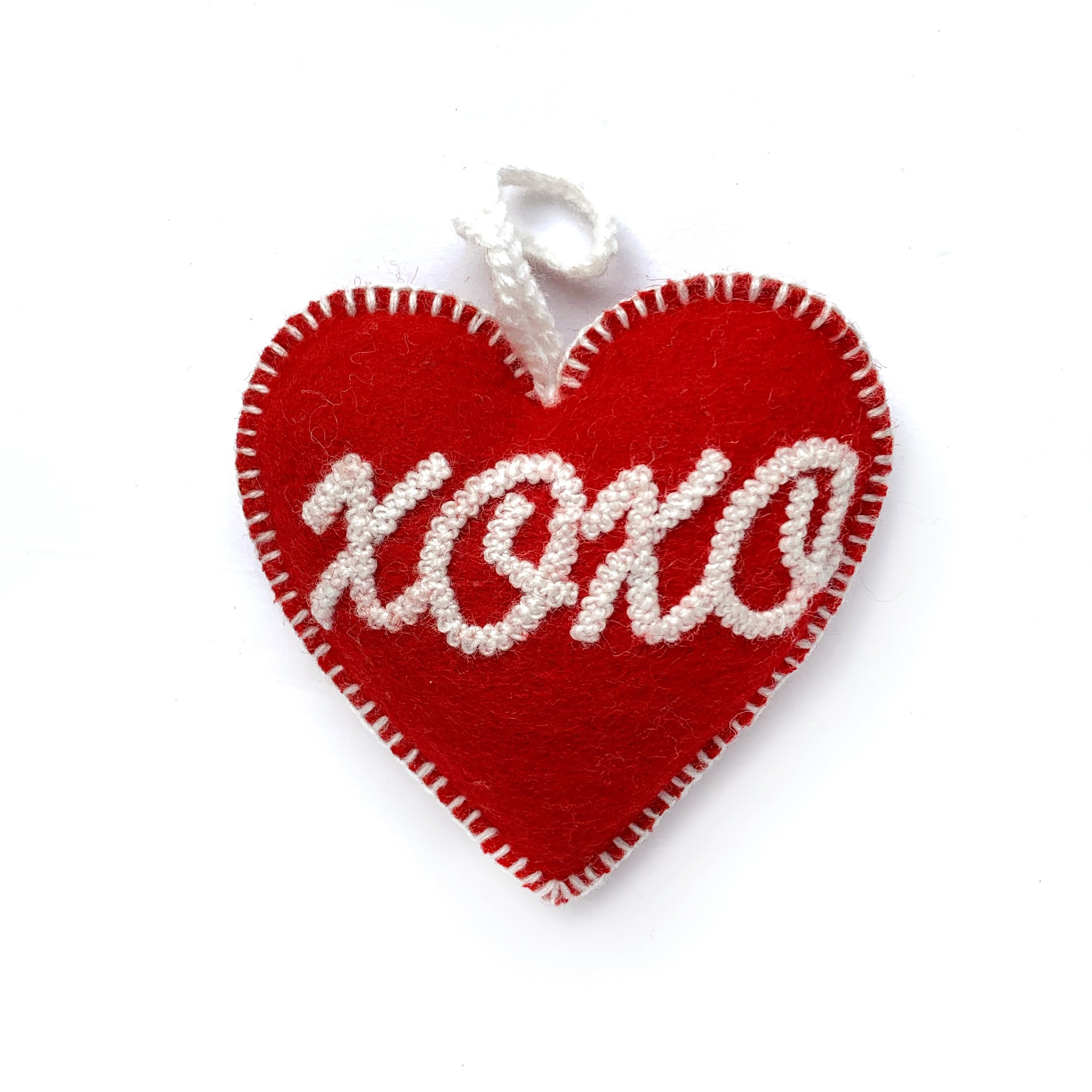 XOXO Heart Valentine's Ornament, Embroidered Wool