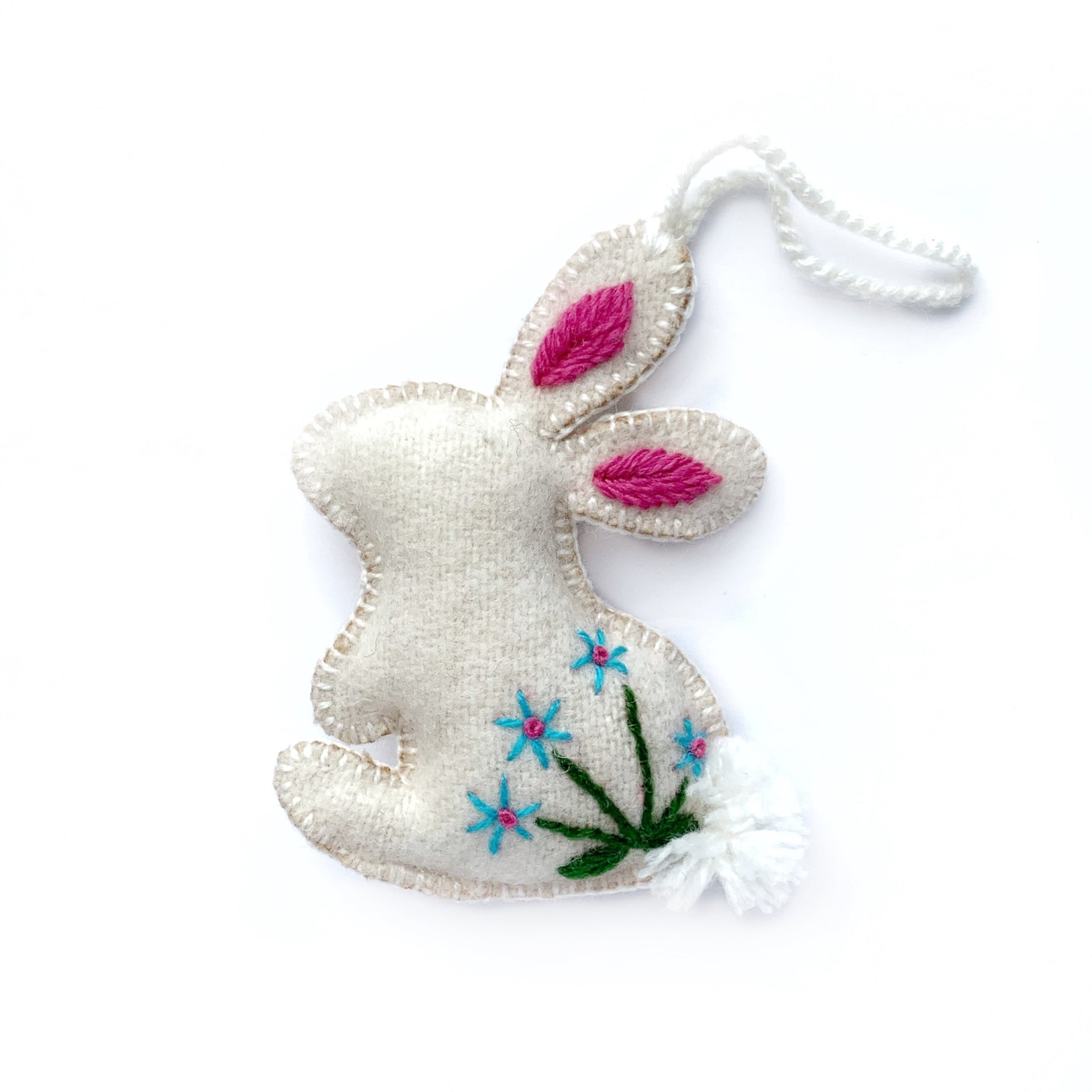Easter Bunny Rabbit Ornament, Embroidered Wool