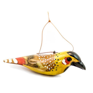 Wood Bird Barbet African Christmas Ornament