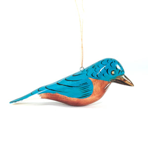 Blue Bird Christmas Ornament Carved Wood