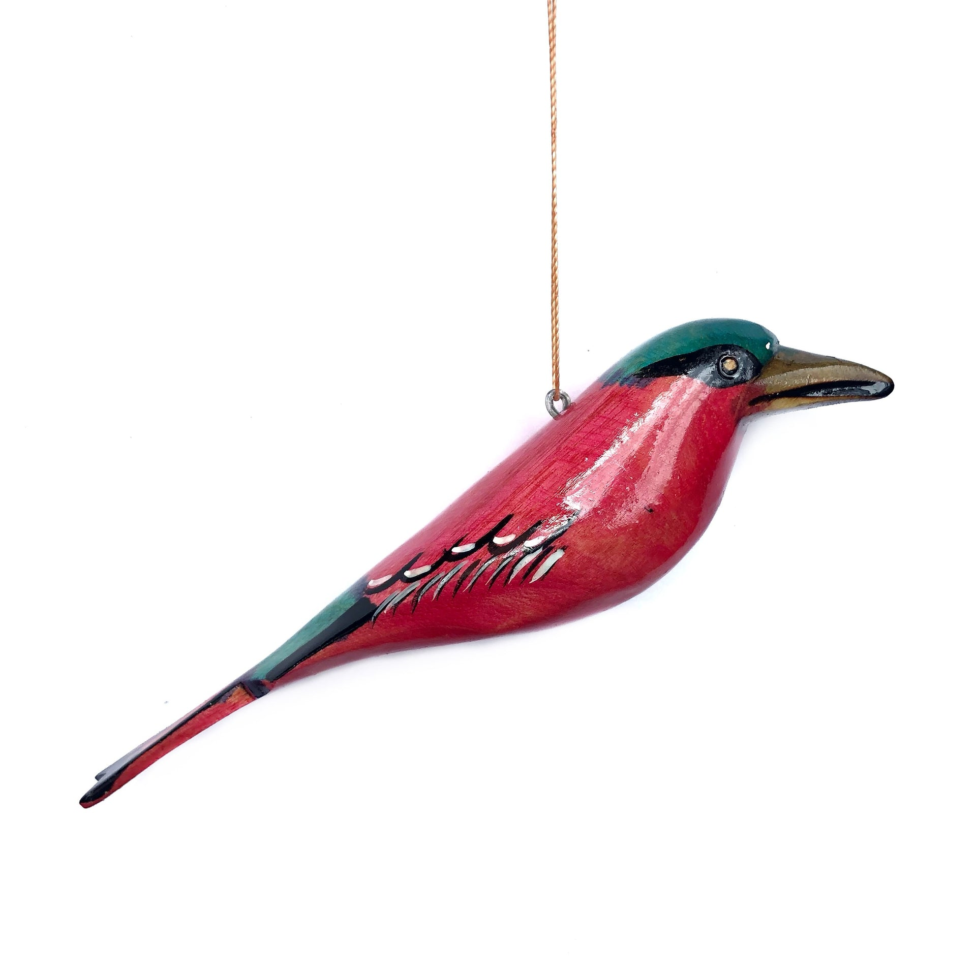 Wood Bird Christmas Ornament Carmine Bee Eater