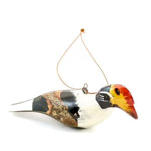 Wood Bird Christmas Ornament African Crowned Hornbill