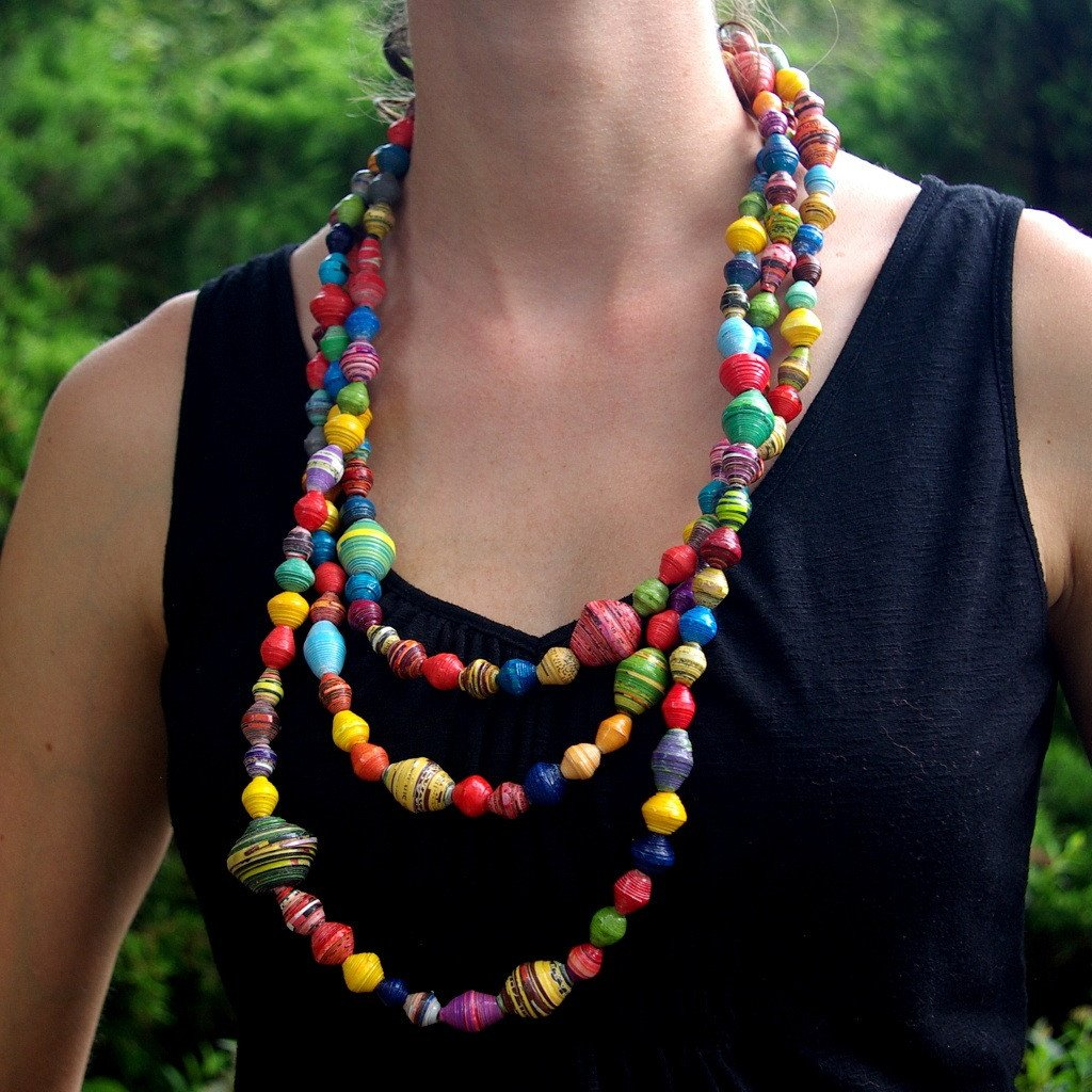 Paper Bead Necklace - Kanzi Garland/Necklace XL