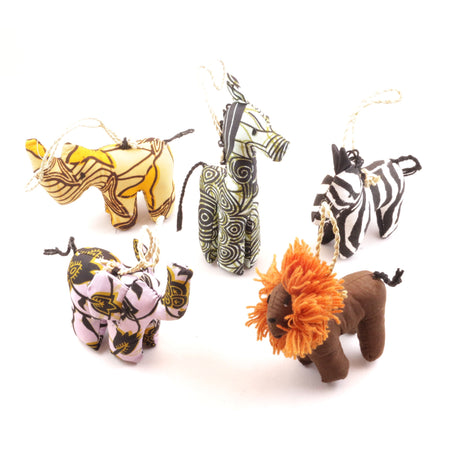 African Animal Ornament Set - Natural Colors