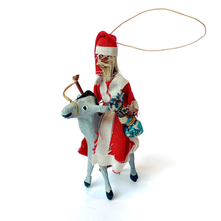 Santa Riding a Donkey Ornament