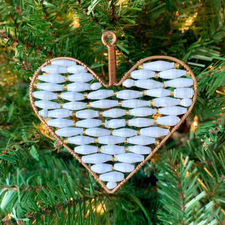 White Heart Paper Bead Ornament