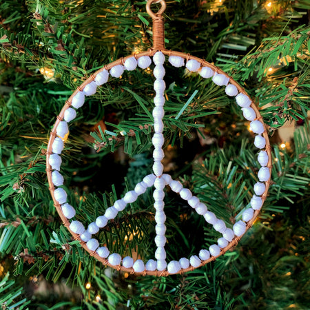 White Peace Sign Paper Bead Ornament