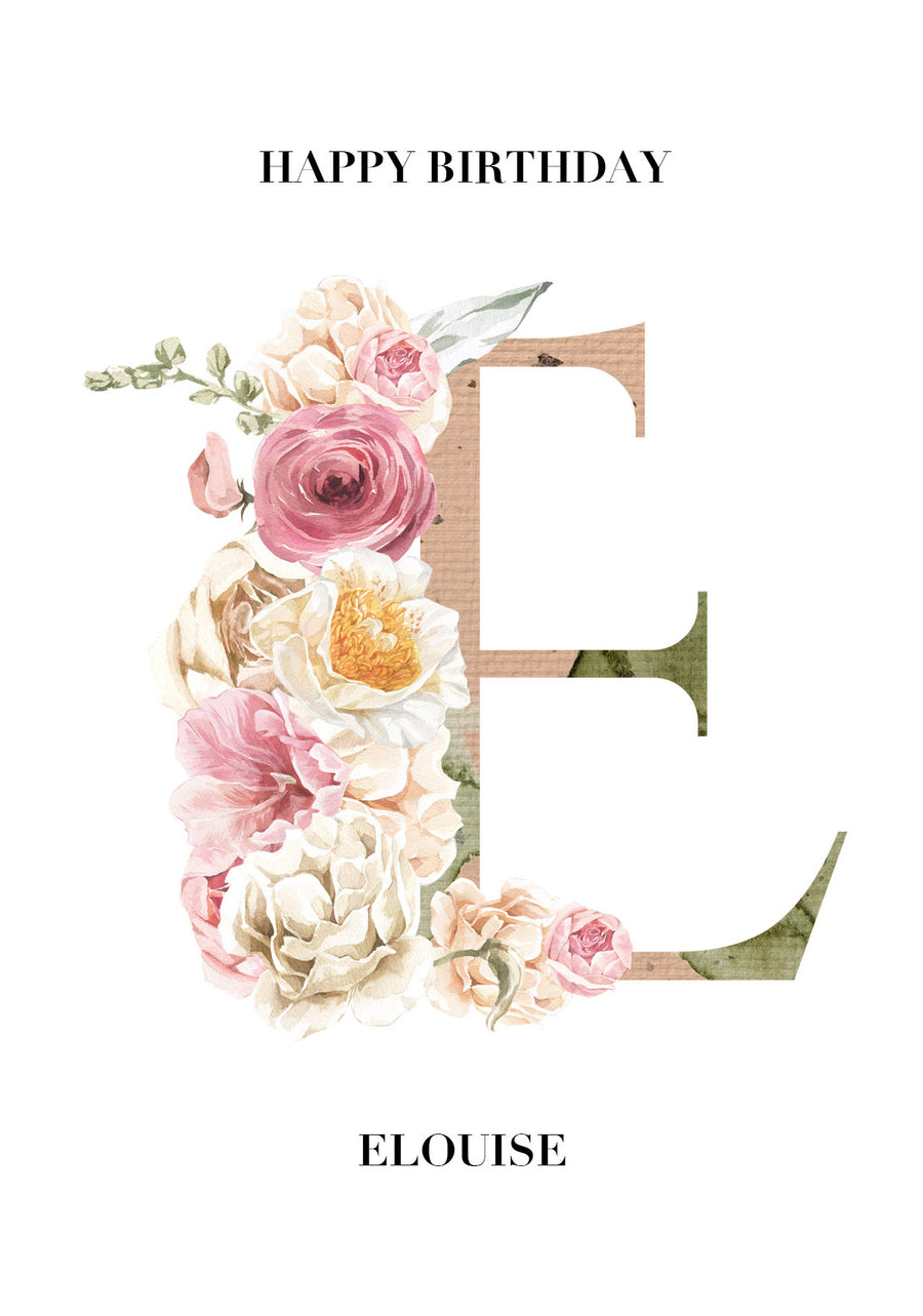Floral Initial Birthday Card