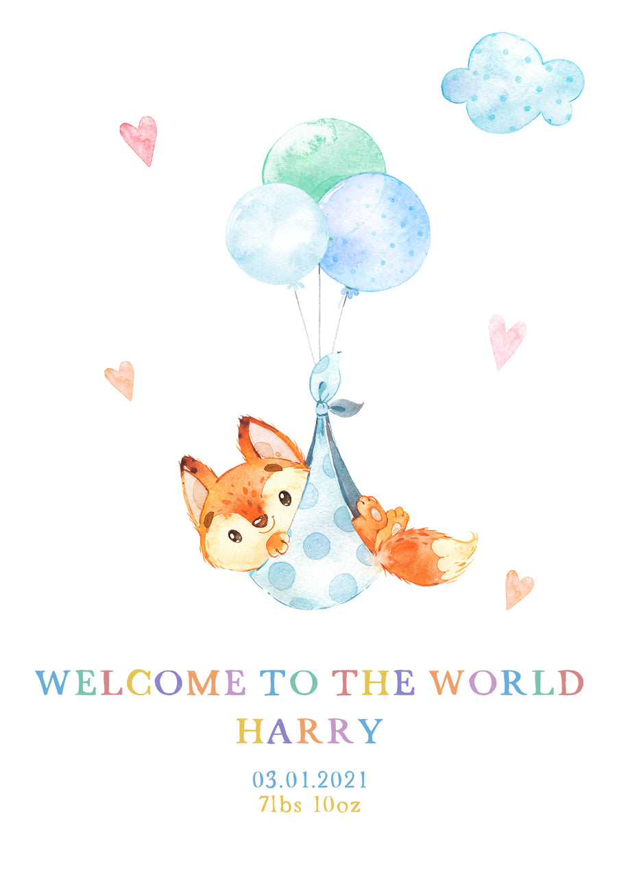 Cute Animals New Baby Card - Personalised