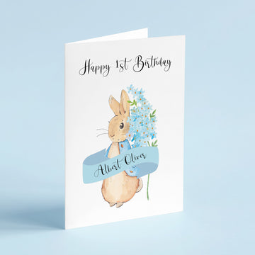 Peter Rabbit Inspired Child's Birthday Card (Blue)