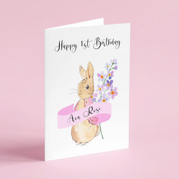 Peter Rabbit Inspired Child's Birthday Card (Pink)