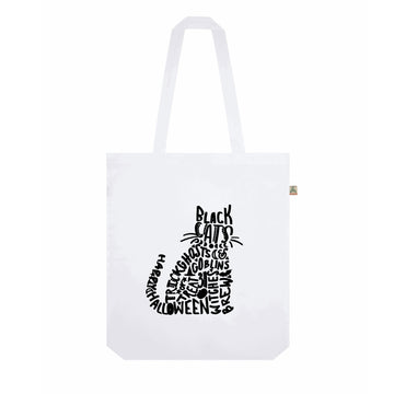Halloween Cat Recycled Tote Bag