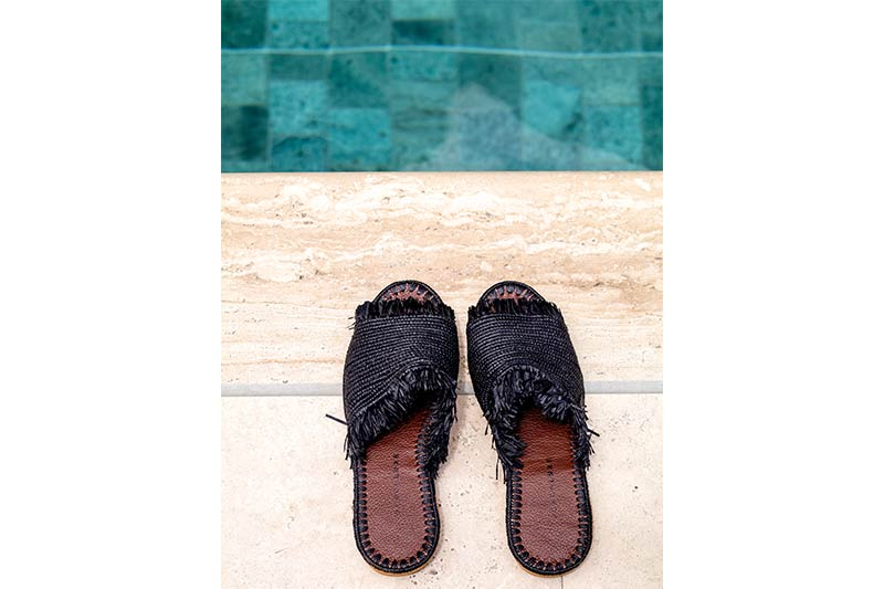 Black Raffia Shoes Morocco