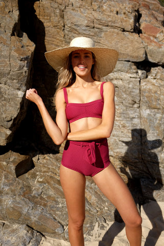 Peony Swimwear Sangria Bikini Top and Bottom