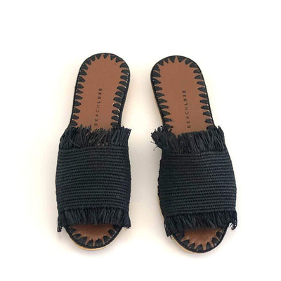 Beach Luxe Farah Raffia Slide - Black Shoes 37