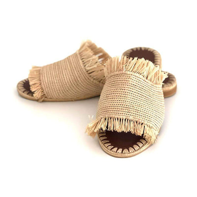Beach Luxe Farah Raffia Slide - Natural Shoes 36