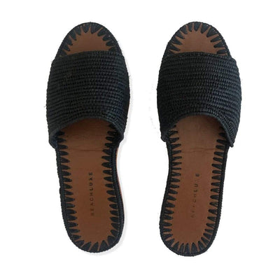Beach Luxe Maria Raffia Slide - Black Shoes