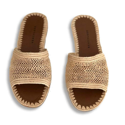 Beach Luxe Nadia Raffia Slide Shoes 36