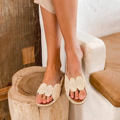 Beach Luxe Samira Raffia Slide Shoes