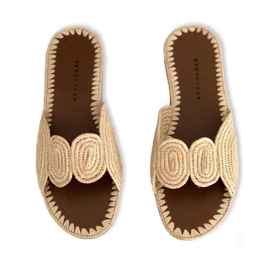 Beach Luxe Samira Raffia Slide Shoes 36