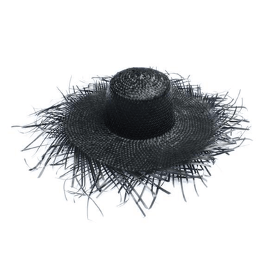 Beach Luxe Venice Frayed Straw Hat - Black Hat