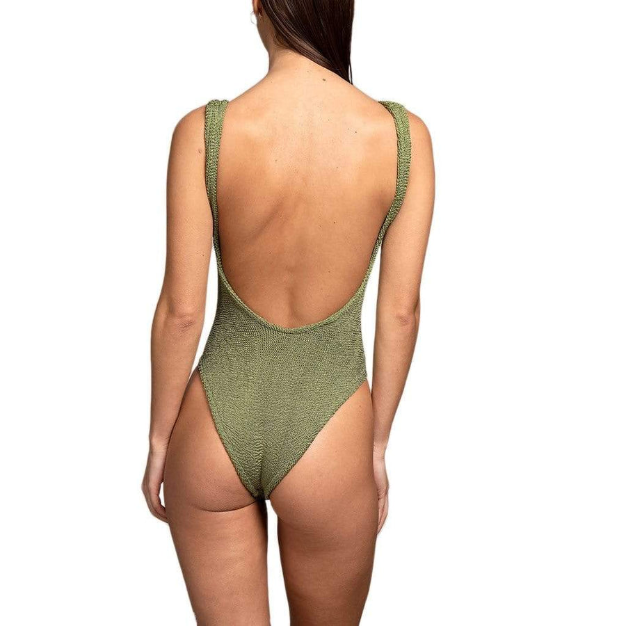 Hunza G Square Neck One Piece - Metallic Moss One Piece
