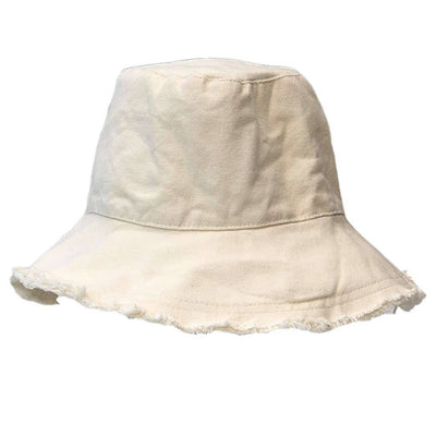 White Bucket Hat Cotton Dune