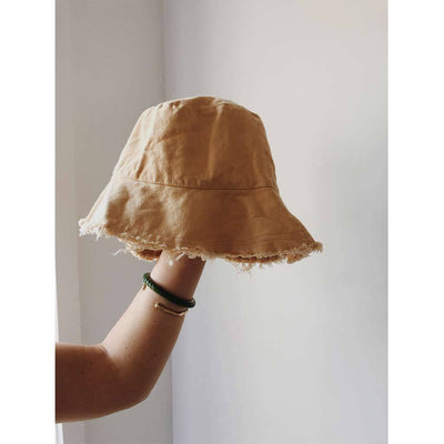 Womens Sand Bucket Hat Cotton Frayed