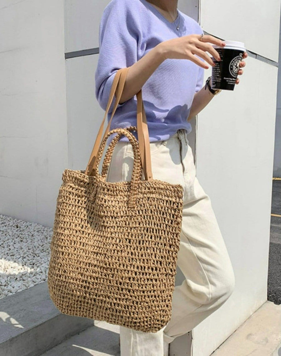 Isla Rattan Shoulder Bag - Natural