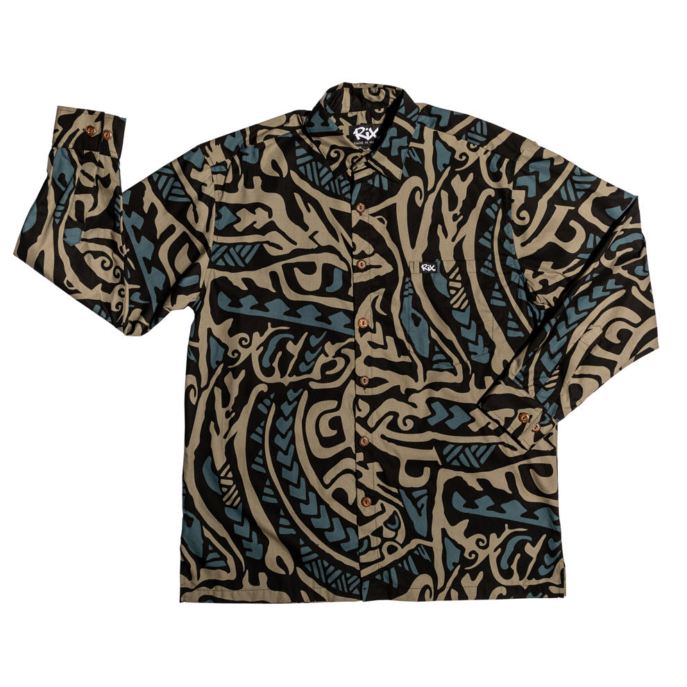 PAHOEHOE Long Sleeve Hawaiian Shirt