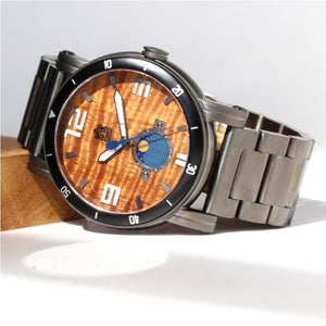 THE WATERMAN BLACKOUT METAL BAND KOA WOOD WATCH (47MM, GUNMETAL BODY AND BAND)