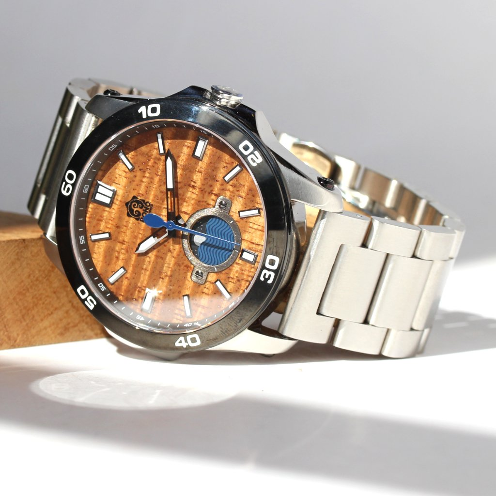 THE CASTAWAY KOA WOOD WATCH (CHROME & STAINLESS BAND)