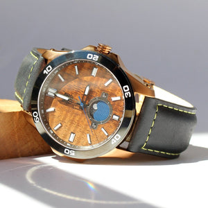 New: THE CASTAWAY KOA WOOD WATCH (COPPER & LEATHER BAND)