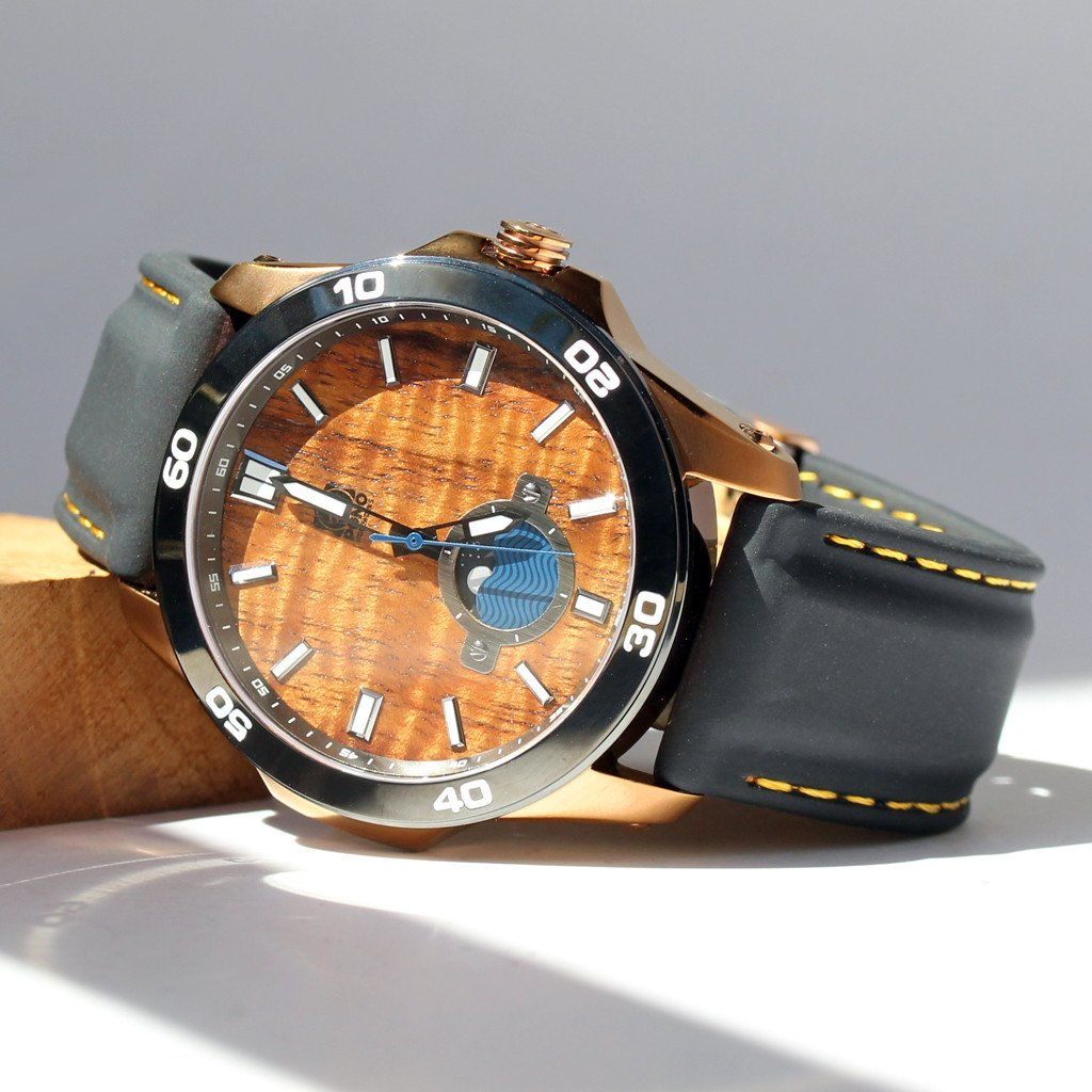 New: THE CASTAWAY KOA WOOD WATCH (COPPER & SILICONE BAND)