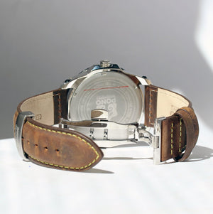 THE CASTAWAY KOA WOOD WATCH (CHROME & LEATHER BAND)
