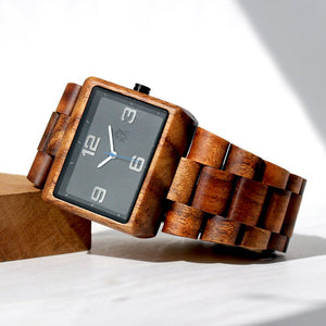 KOA SOLID WOOD WATCH, SQUARE BLACK FACE