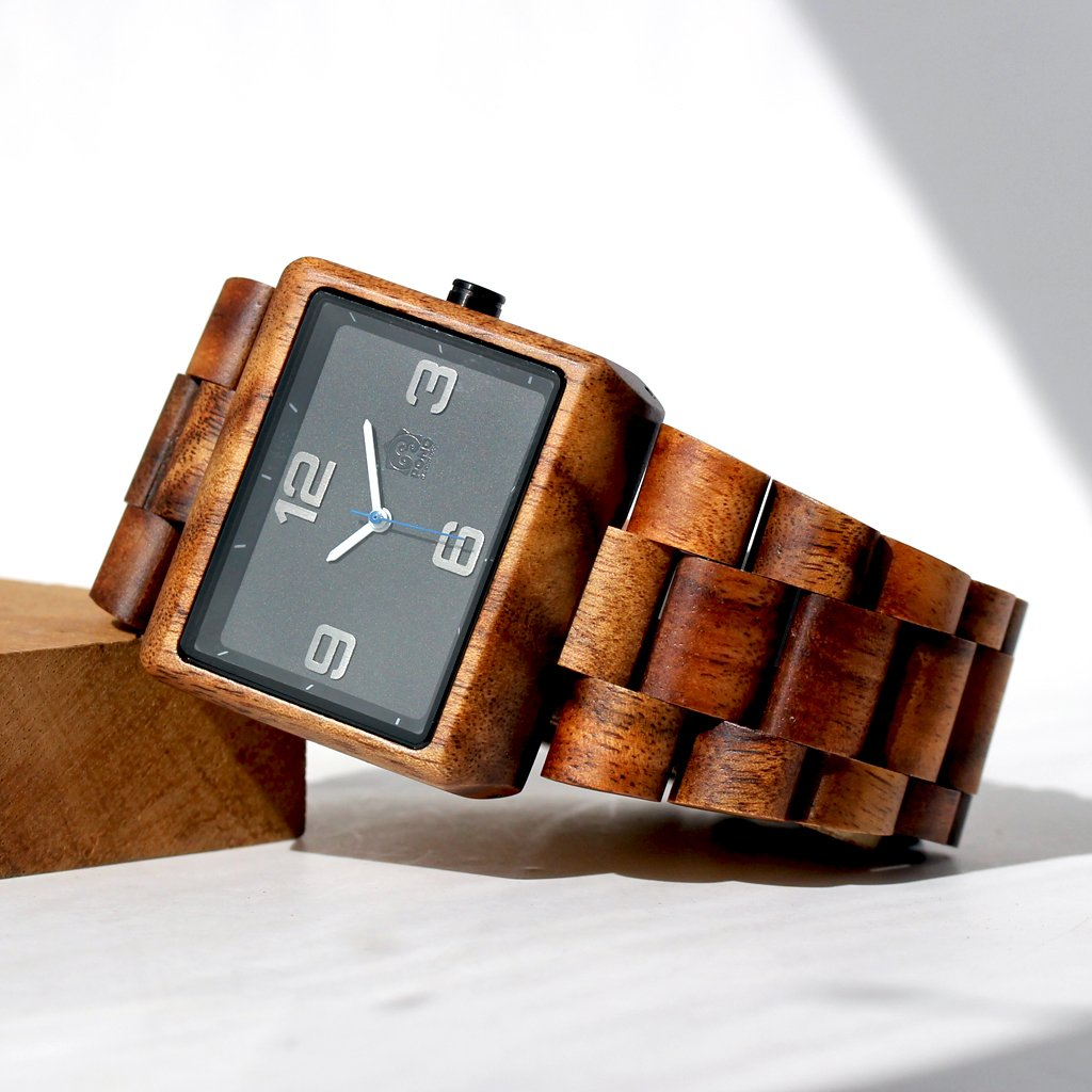 New: KOA SOLID WOOD WATCH, SQUARE BLACK FACE