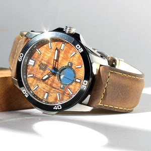 New: THE CASTAWAY KOA WOOD WATCH (CHROME & LEATHER BAND)
