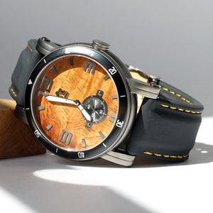 THE WATERMAN BLACKOUT KOA WOOD WATCH (47MM, GUNMETAL, BLACK SILICONE)