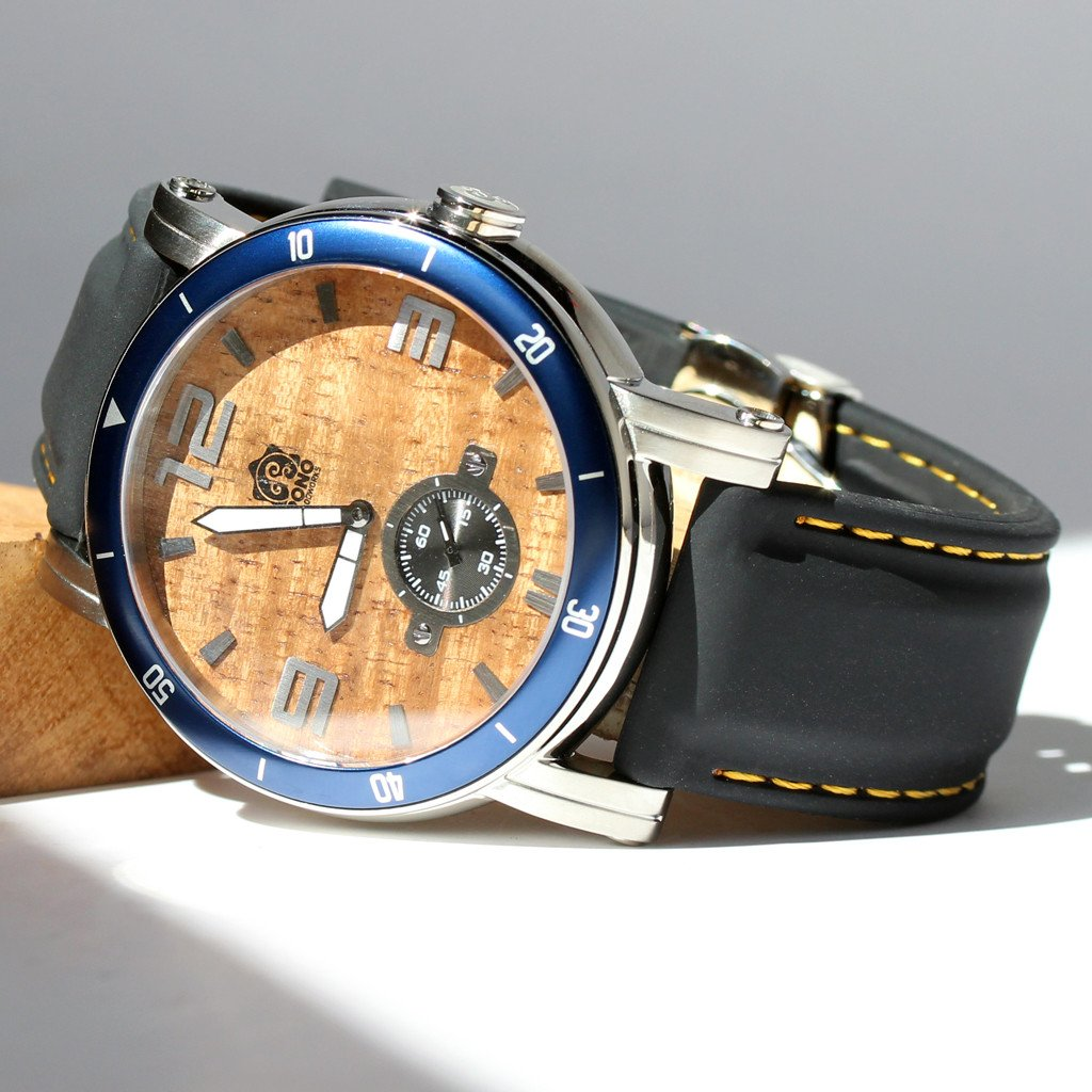 THE WATERMAN KOA WOOD WATCH (47MM, CHROME, BLUE OR BLACK SILICONE BAND)