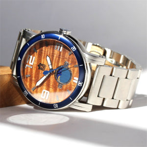 THE WATERMAN KOA WOOD WATCH (47MM, CHROME, STAINLESS BAND)