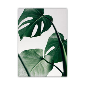 Green Leaf Monstera Deliciosa and Quote Wall Print