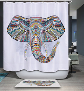 Waterproof & Mildew Resistance Colorful Indian Elephant Shower Curtain