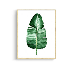 Green Tropical Plant Leaves Canvas Art Print Poster