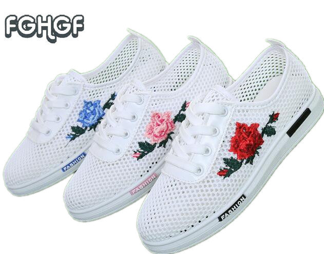 Women's Embroidered White Mesh Breathable Summer Tennis Shoes